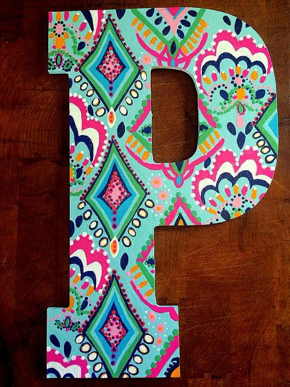13 Hand Painted Wooden Letters
