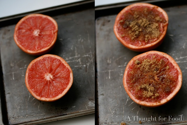 Broiled grapefruit with brown sugar and ginger!