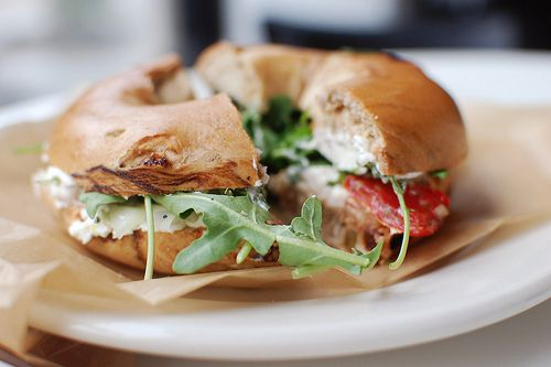 Veggie and Cream Cheese Bagel Sandwich | Lunch Time! | Pinterest