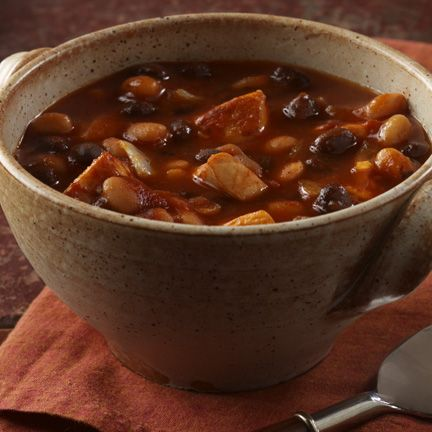 Chicken and Black Bean Chili (for me without the pork & beans)