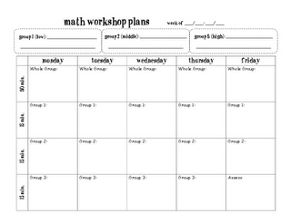 F is for First Grade: Math Work Stations Book Study (Chapter 3) planning page
