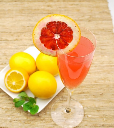 ... citrus tone with blood orange and Meyer lemon juices. It's sweet and