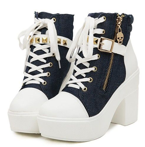 Casual Style Lacing Rivet Thick Heels Shoes Martin Boot--Click the