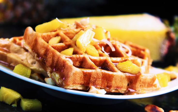 Pineapple Coconut Macadamia Nut Waffles with Pineapple Coconut Syrup ...