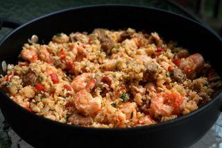 Arroz con chorizo y camarones or rice with chorizo and shrimp recipe ...