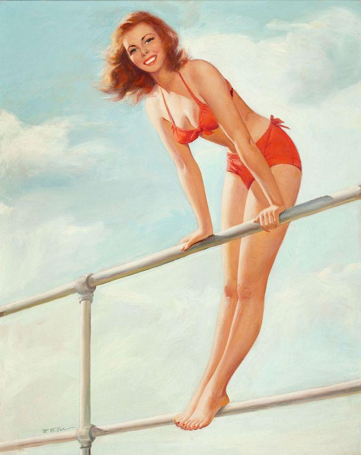 American Art - Mark MILLER - 1948 Calendar Pin-Up Illustration Oil Painting