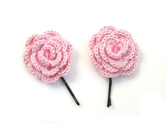 Crochet Hair Using Bobby Pin : ... www.etsy.com/listing/84148356/pink-crochet-flower-bobby-pins-set-of-2