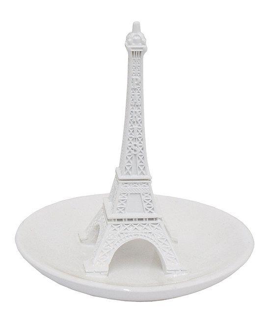 White Eiffel Tower Ring Holder