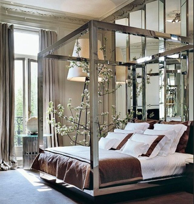 mirror canopy bed home decor pinterest