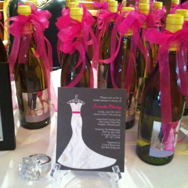 Wedding shower gift idea; personalized wine bottles with the couples ...