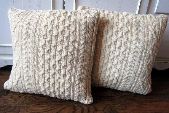Cream colored cable knit sweater pillow covers by sewingbyjenn 30 00