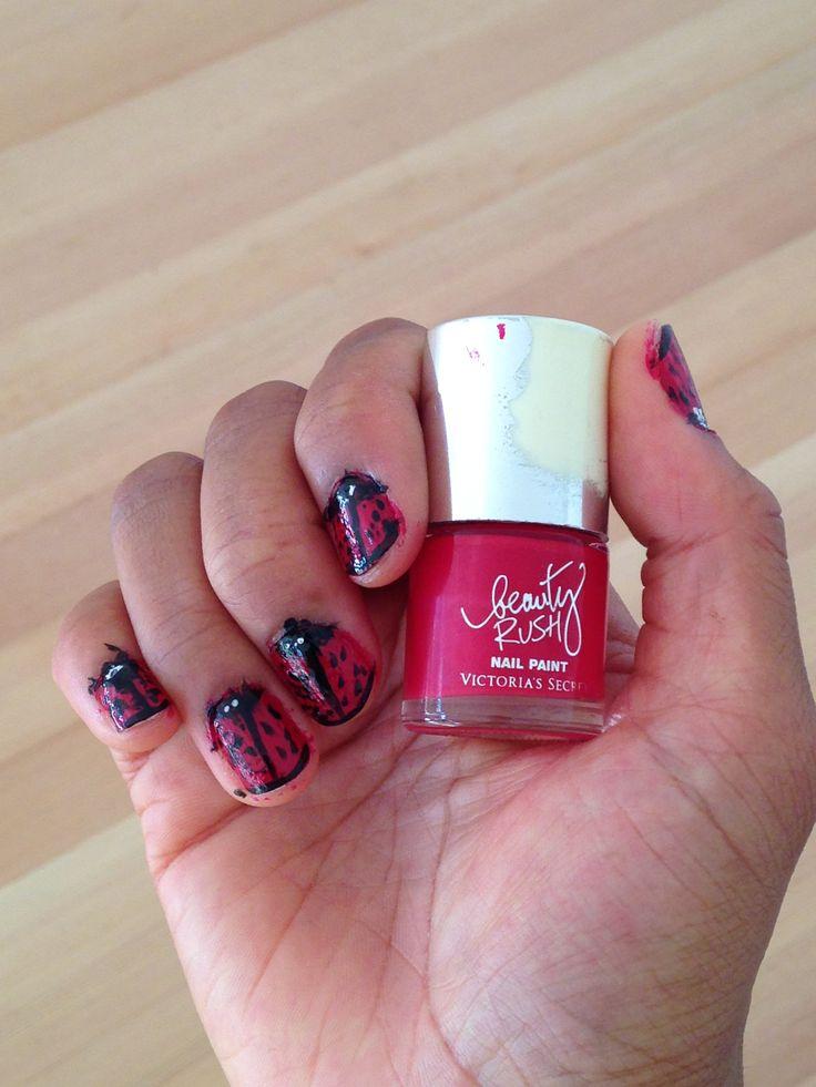Ladybug nail art | Nail Art | Pinterest