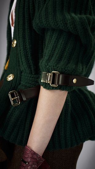 Burberry | Soft ribbed cashmere jacket with leather bridle straps