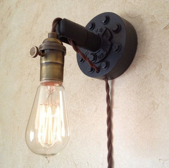 plug in industrial wall sconce retro edison lamp usd via