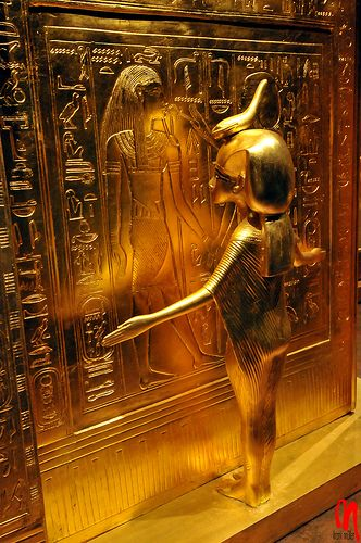 Queen Ankesenamun's figure as a goddess guarding (I think guarding something in King Tut's tomb)  These figures are exquisite a must see if it travels near you.