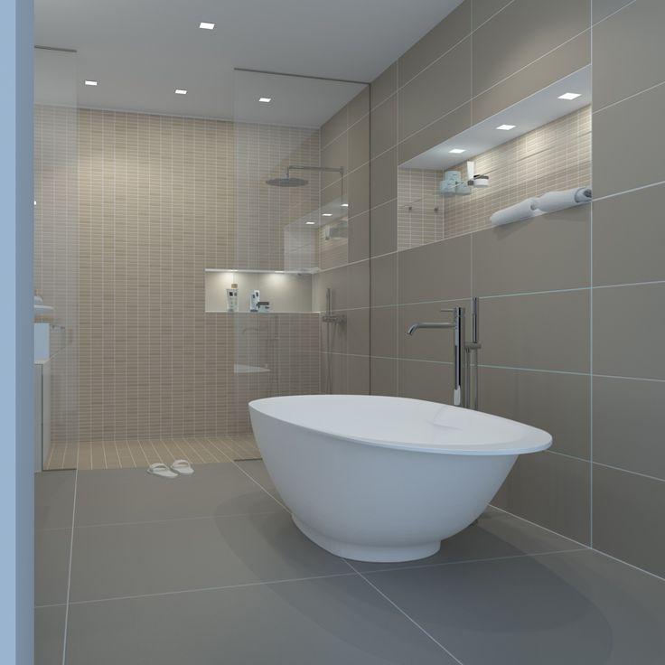 First concept badkamer met vrijstaand bad en regendouche.