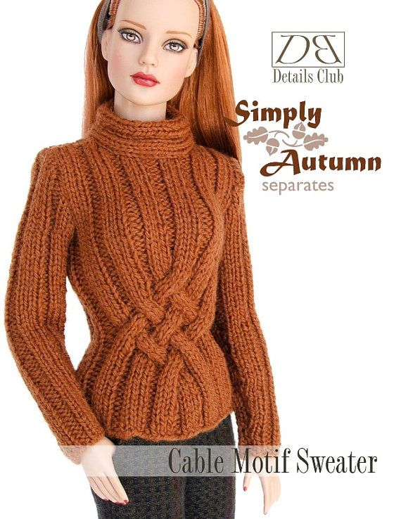 Knitting Patterns For 7 Inch Dolls : Knitting pattern for 16 inch fashion dolls: Cable Motif ...