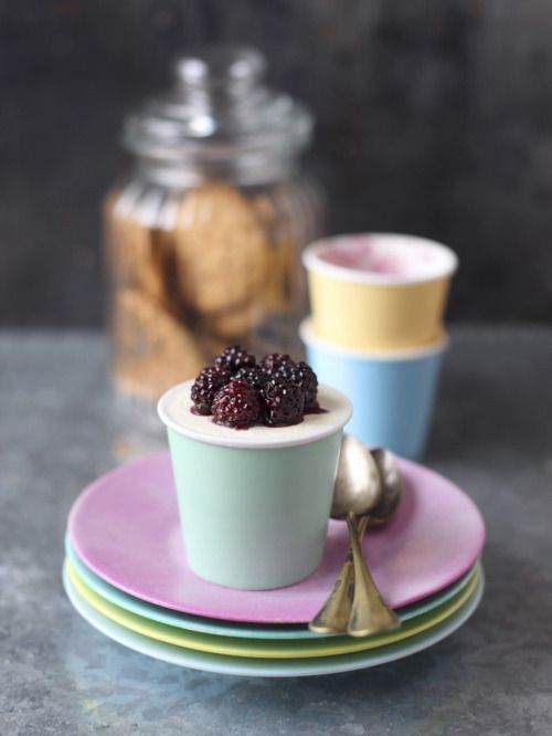 Blackberry Cheesecake Mini Pots | On the Table | Pinterest