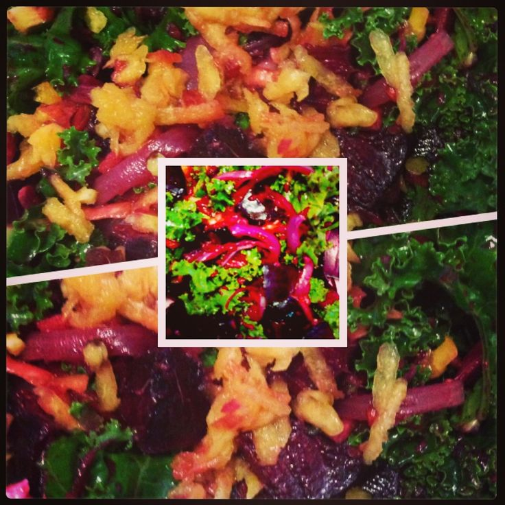 Beautiful Beet and Kale salad with ginger nectarine dressing # ...