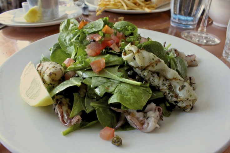 Grilled calamari salad with roasted bell peppers, shaved fennel ...
