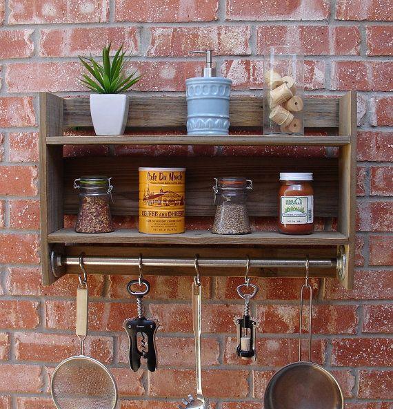 Industrial rustic reclaimed wood wall shelf spice rack for Reclaimed wood pot rack