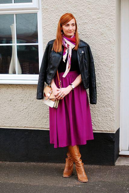 Black leather jacket, midi skirt & tan boots