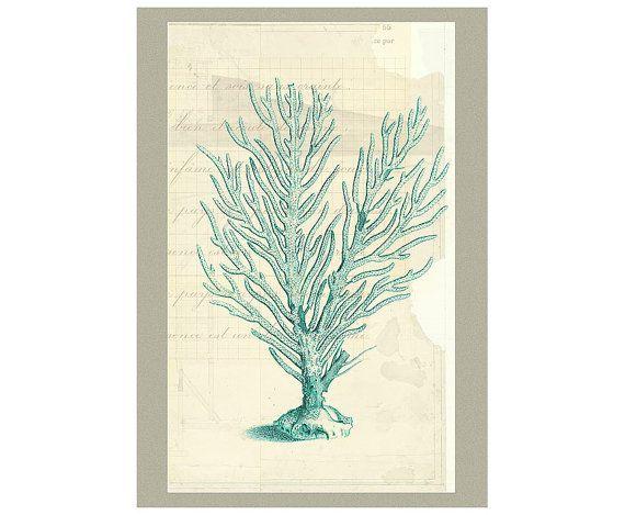 Vintage Teal Wall Decor : Blue teal antique sea coral wall decal mix media coastal