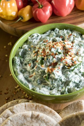 Warm Spinach and Artichoke Dip - served on naan or pita slices ...
