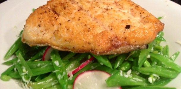 Seared Arctic Char with Sugar Snap Pea Salad