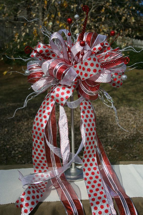 Christmas tree topper bow topper ribbon topper silver for Red ribbon around tree