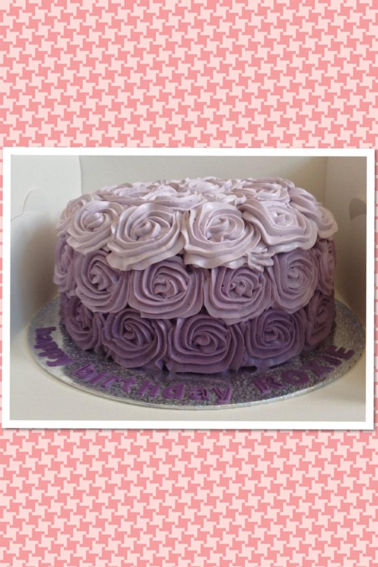 Rose Swirl Cake Design : Ube cake - ombre rose swirl design Sofia the first ...