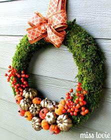 DIY Gold and Orange Autumn Pumpkin Patch Wreath Tutorial from Miss Lovie