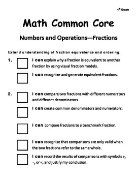 """Here's a checklist using """"I can"""" statements for the 4th grade Common Core standards in Numbers and Operations - Fractions."""