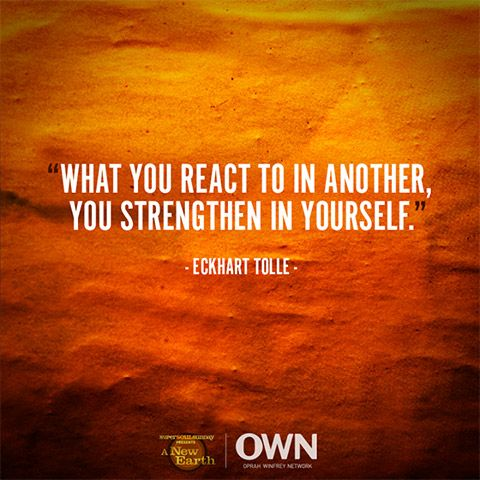 What you react to in another you strengthen in yourself eckhart