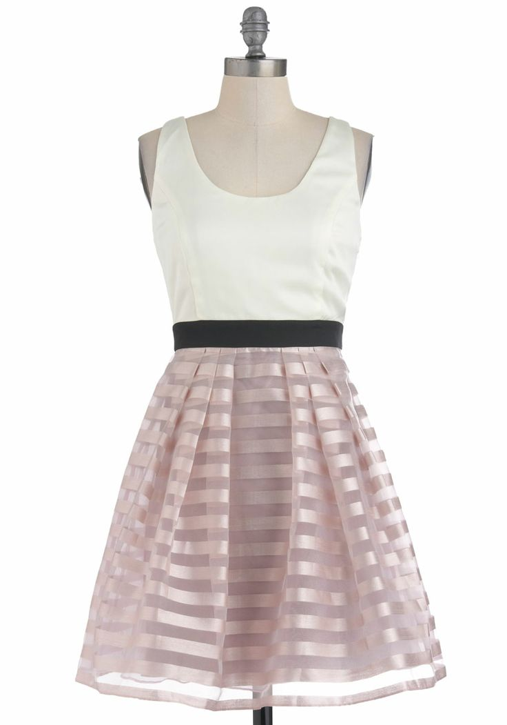 Lavender Scone Dress - Mid-length, Multi, Pink, Black, White, Stripes, Pleats, Party, Twofer, Sleeveless, Summer