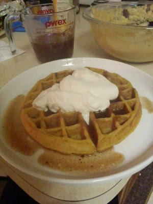 Homemade Pumpkin Waffles with Apple Cider Syrup