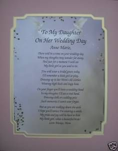 Gift Ideas For My Daughter In Law On Her Wedding Day : To my daughter on her wedding day poem personalize gift