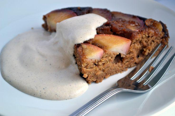 Caramel Apple Upside Down Cake with Vanilla Bean Cashew Cream (Vegan ...
