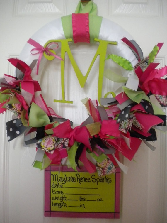 baby girl ribbon wreath with birth announcement for hospital door in