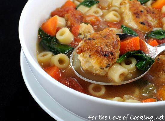 mini chicken meatball pasta and vegetable soup