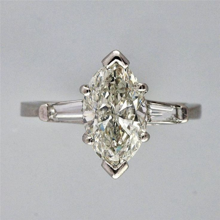 Vintage Marquise Engagement Ring 1 31ct Platinum Baguette