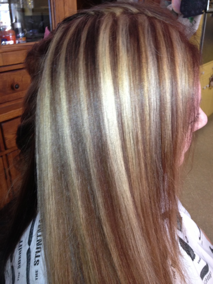 Copper red brown with blonde foils