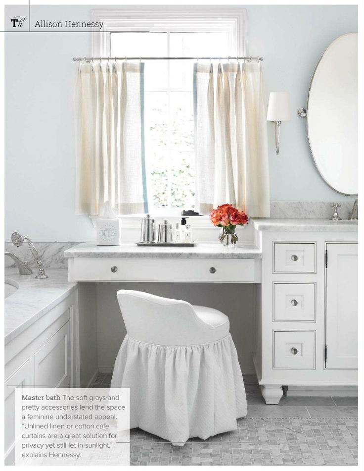 This issue is loaded with designer tips and pics to prove them. Unlined linen or cotton cafe curtains are a great solution for privacy yet let the sunshine in explains designer Allison Hennessy. Photo: Emily Followill    tradhomemag.com