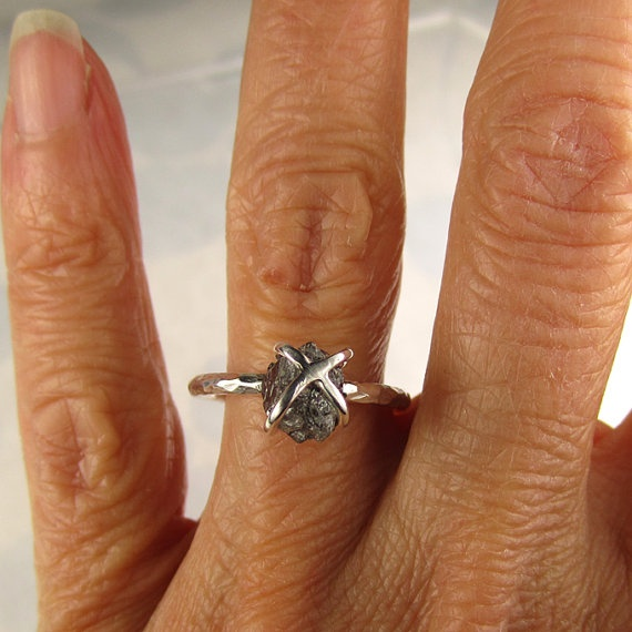 Rough Diamond Ring  Caged Diamond in Sterling  by artifactum, $210.00