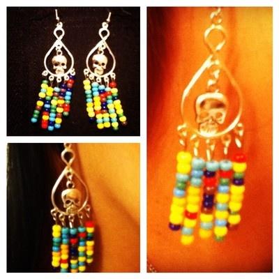 Colorful Dai De los Muertos Silver earrings