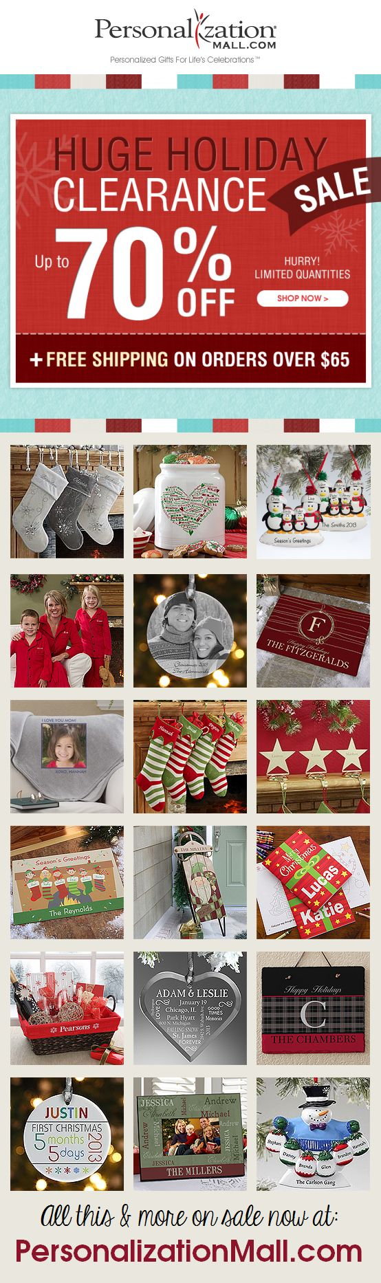 PersonalizationMall is having a HUGE Christmas Clearance Sale! You can save up to 70% off Personalized Christmas Stockings, Christmas Ornaments and all types of adorable gifts and decorations - buy now and save the gifts for next year! #Christmas #Sale #Clearance