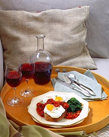 Poached Eggs with Tomato Sauce over Parmesan Toasts and Sauteed ...