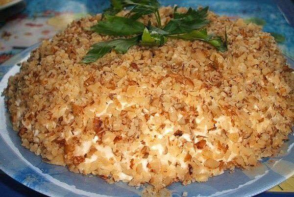 Рецепт салата с грецкими орехами курицей и ананасом рецепт с пошагово