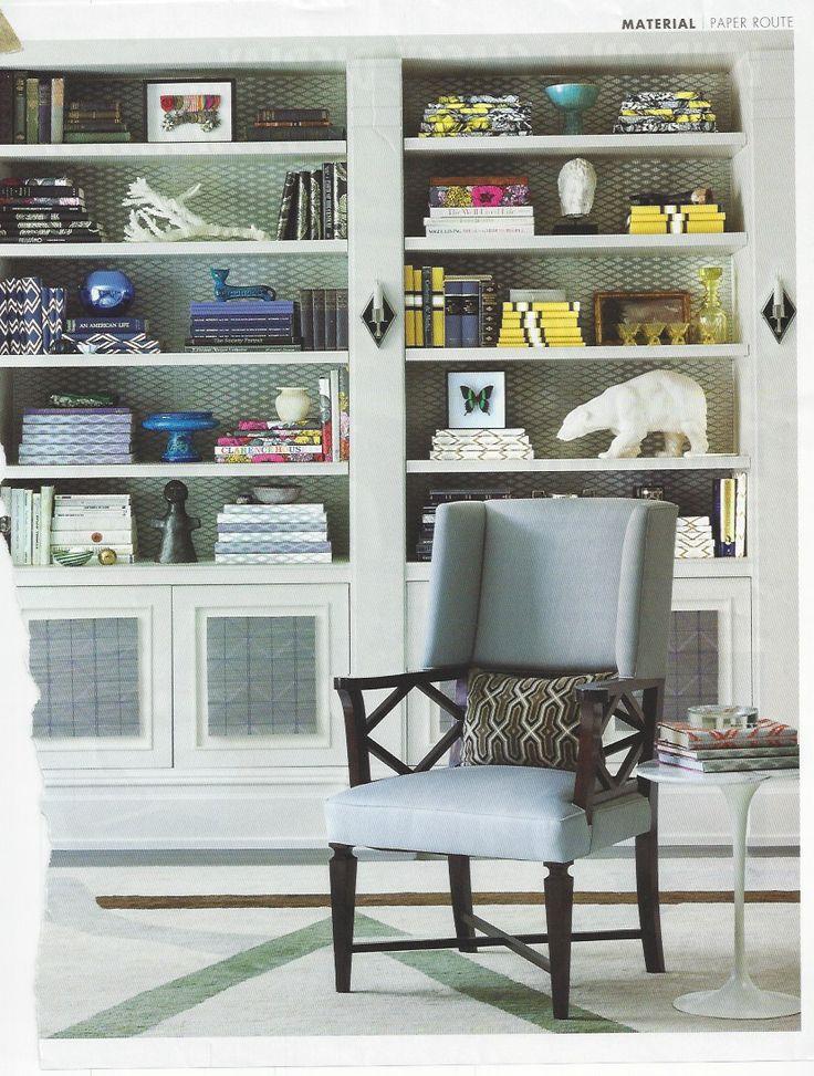 Metallic Wallpaper Behind Shelves Home Ideas Pinterest