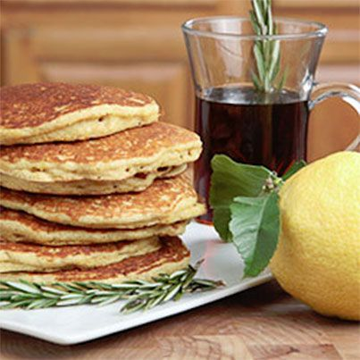 Quinoa Cornmeal Lemon Honey Pancakes